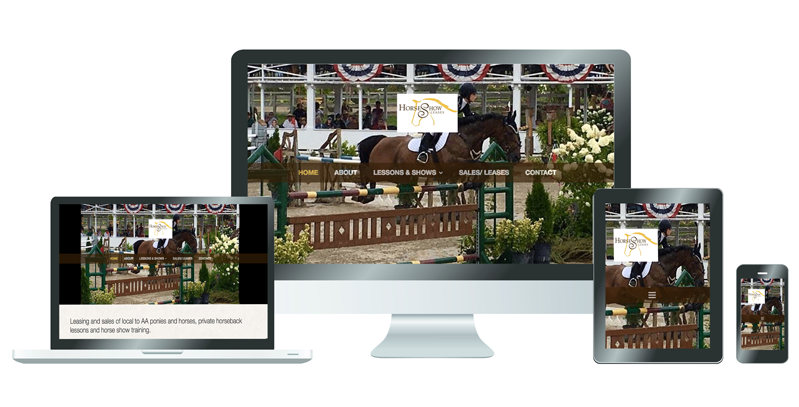Example of Horse Show Leases website on different devices.
